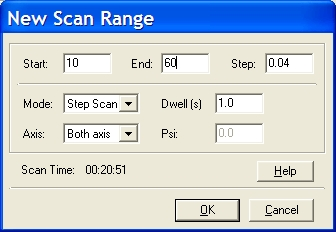 New Scan Range window